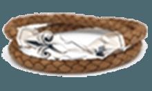 DB-083N /編革レザーブレスレット(ナチュラル)×シルバー ゴシック調