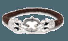 DB-089BR /編革レザーブレスレット(ブラウン)×シルバー 唐草模様 [ARCO E FRECCIA]