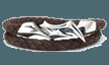 DB-117BR /編革レザーブレスレット(ブラウン)×シルバー
