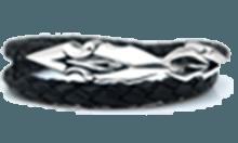 DB-157 /編革レザーブレスレット(ブラック)×シルバー 2重巻き