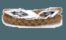 DB-157N /編革レザーブレスレット(ナチュラル)×シルバー 2重巻き