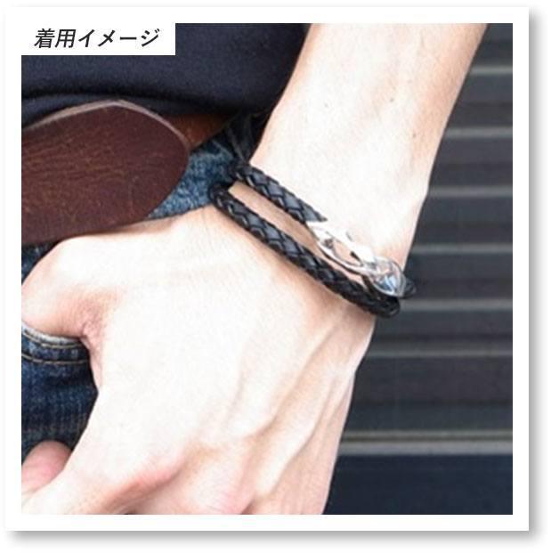 DB-170B /編革レザーブレスレット(ブラック)×シルバーの着用イメージ