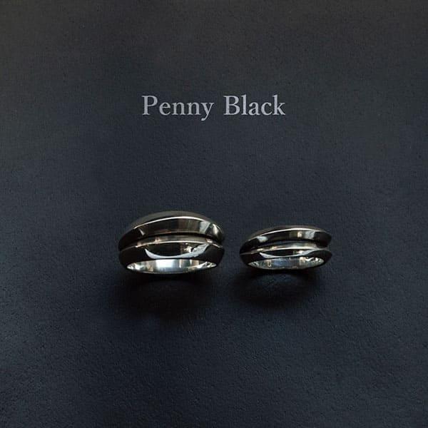 送料無料  名入れOK 【Penny Black】シルバーペアリング  [P-030-031]