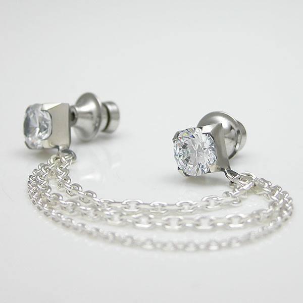 送料無料 【Glass】 キュービックジルコニア×シルバーラペルピン [DK-035CZ]
