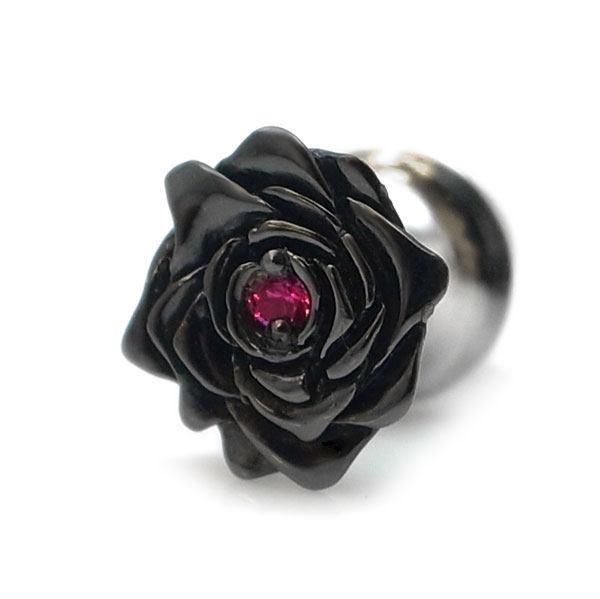 【配送選択可。クリックポスト便は送料無料(指定日・代引き・ギフト不可)】【black beauty -capricious beauty-】 薔薇 ルビー(合成)×ブラックコーティング×シルバーラペルピン [DK-065]