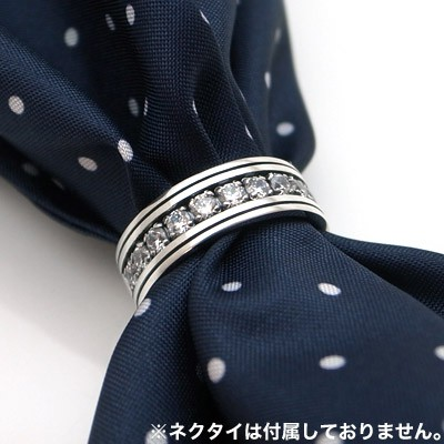 送料無料 スーツアクセサリー キュービックジルコニア ネクタイリング スカーフリング [DK-075CZ]