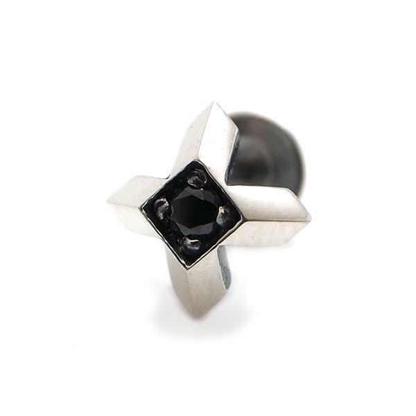 【Glass】 クロス ブラックキュービックジルコニア×シルバーピアス [DP-089BCZ]