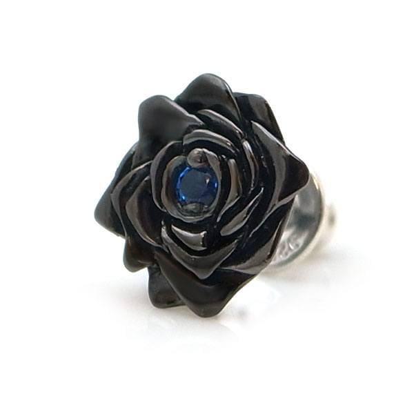 【配送選択可。ネコポス便は送料無料(指定日・代引き・ギフト不可)】【black beauty】 薔薇 ブルースピネル×ブラックコーティング×シルバーピアス [DP-097BSPG]