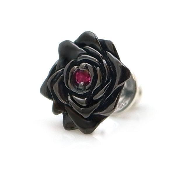 【black beauty】 薔薇/バラ モチーフ ブラックコーティング シルバー ピアス(ルビー合成) [DP-097RBG]