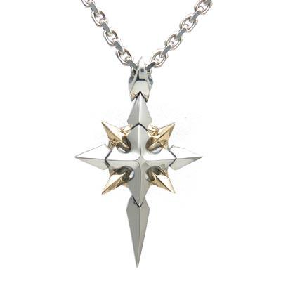 送料無料 【Shining Crystal】 ゴールド×シルバーペンダント [DT-231G]