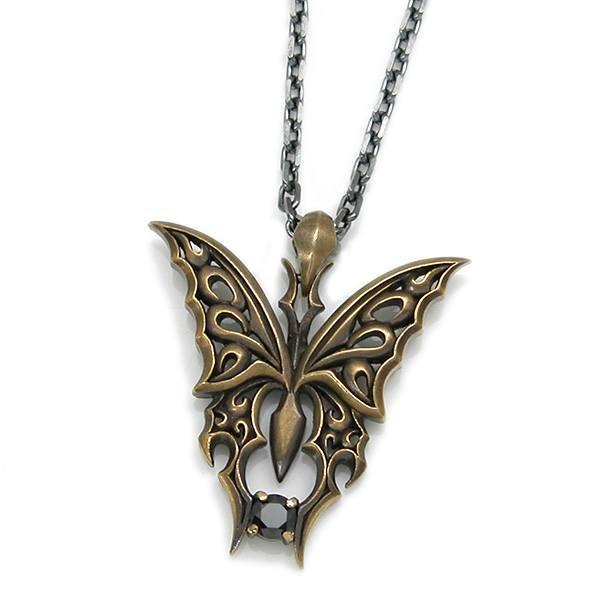 送料無料 【Butterfly】 ブラックキュービック×真鍮×シルバーペンダント [DT-288]
