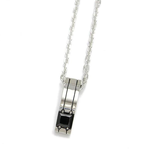 【Glass】 シルバーペンダント 選べる天然石 ~ブラックキュービックジルコニア/キュービックジルコニア~ [DT-298]