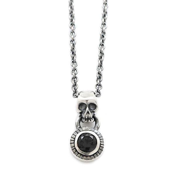 【Penny Black】 スカルモチーフ シルバーペンダント 選べる天然石 ~ブラックキュービックジルコニア/ルビー(合成)~ [DT-436]
