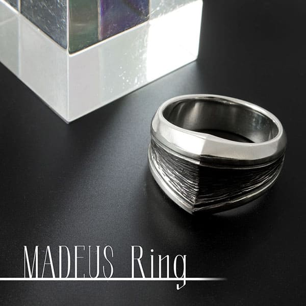 送料無料  名入れOK メンズ シルバーリング 「MADEUS」  [DR-362]