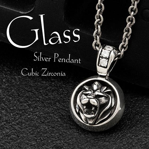 送料無料 【Glass】ライオンモチーフ シルバーペンダント 選べる天然石 ~ブラックキュービックジルコニア/キュービックジルコニア~ [DT-219]