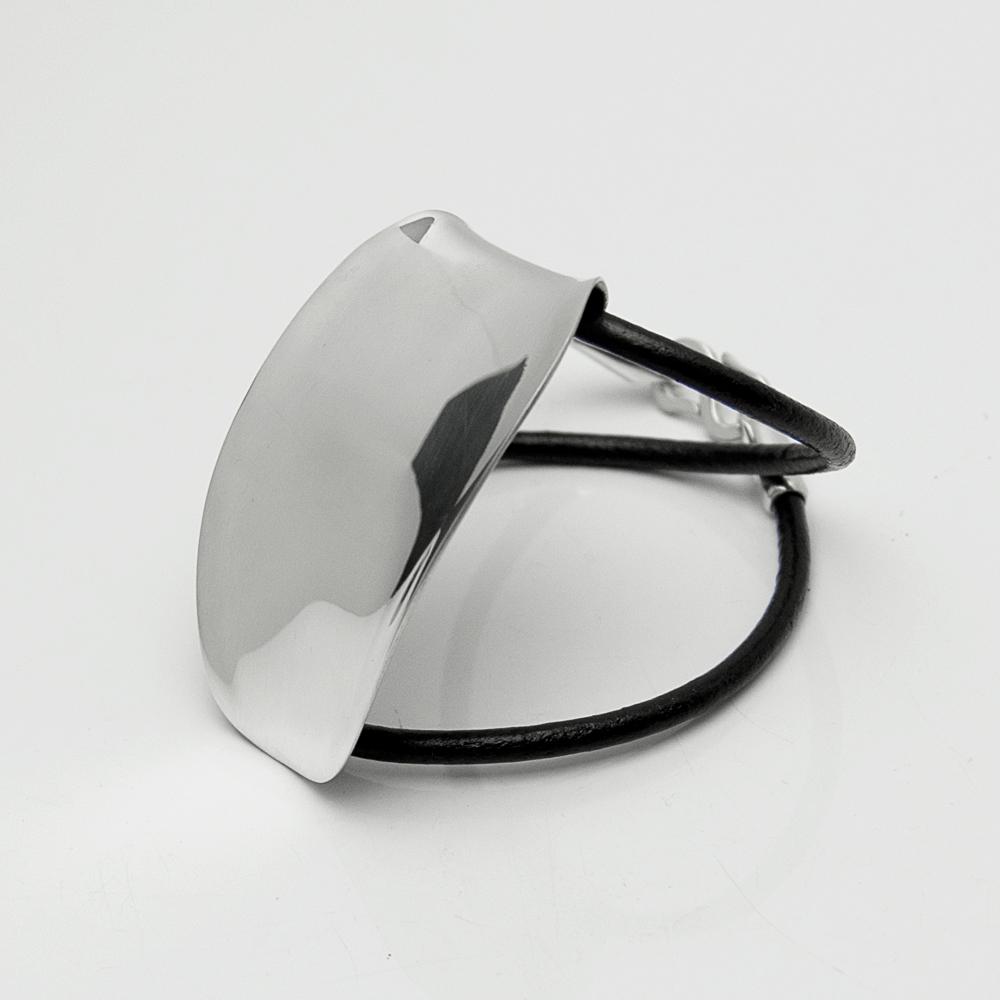 【Lifestyle Design Lab】シルバー×レザーブレスレット メンズ レディース ブラック  [LLB-010B]