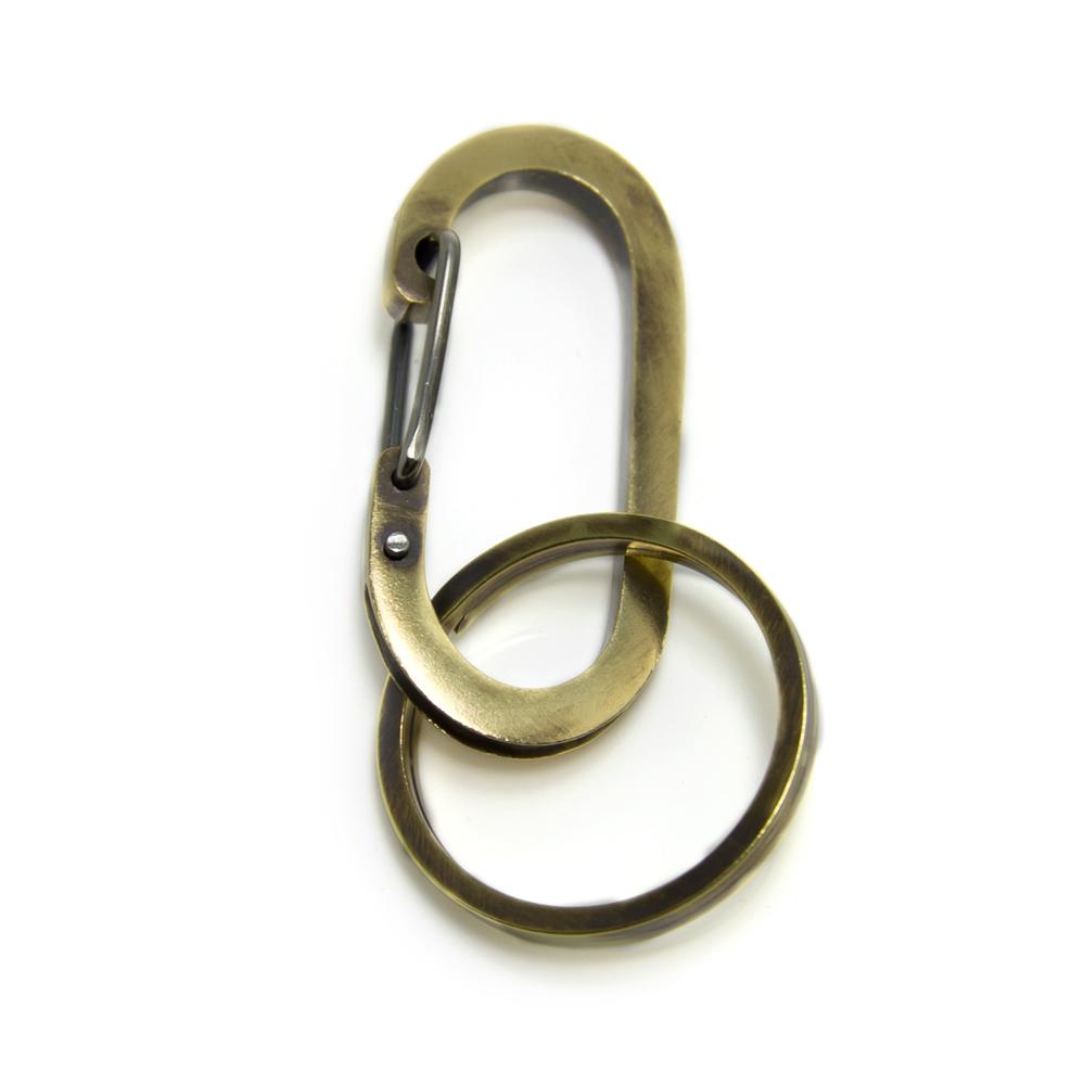 【配送選択可。クリックポスト便は送料無料(指定日・代引き・ギフト不可)】【Lifestyle Design Lab】 カラビナフック キーホルダー 真鍮  [LLK-001BR]