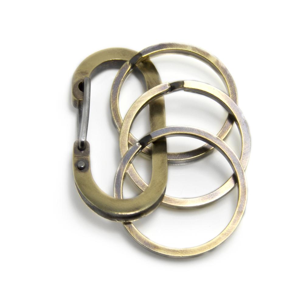 【配送選択可。クリックポスト便は送料無料(指定日・代引き・ギフト不可)】【Lifestyle Design Lab】 カラビナフック キーホルダー 真鍮  [LLK-001BR3]