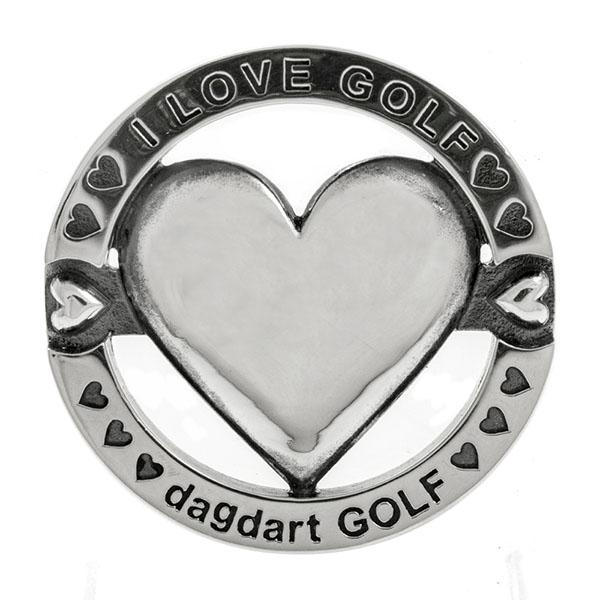 送料無料 【dagdart GOLF】 ゴルフマーカー ボールマーカー 名入れ ハート  MS-057