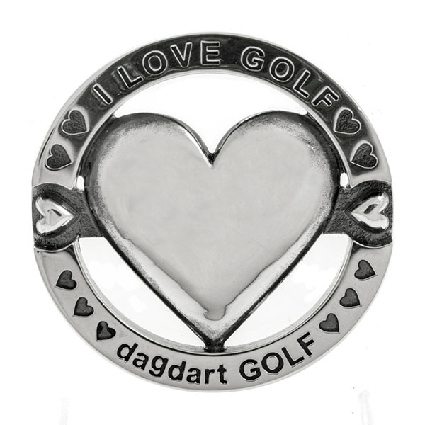 料無料 【dagdart GOLF】 ゴルフマーカー ボールマーカー 名入れ ハート  MS-057