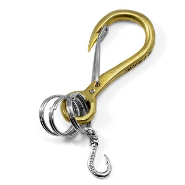 【配送選択可。ネコポス便は送料無料(指定日・代引き・ギフト不可)】 【Penny Black】カラビナフック キーホルダー 釣り針 真鍮×シルバー [P-036J]